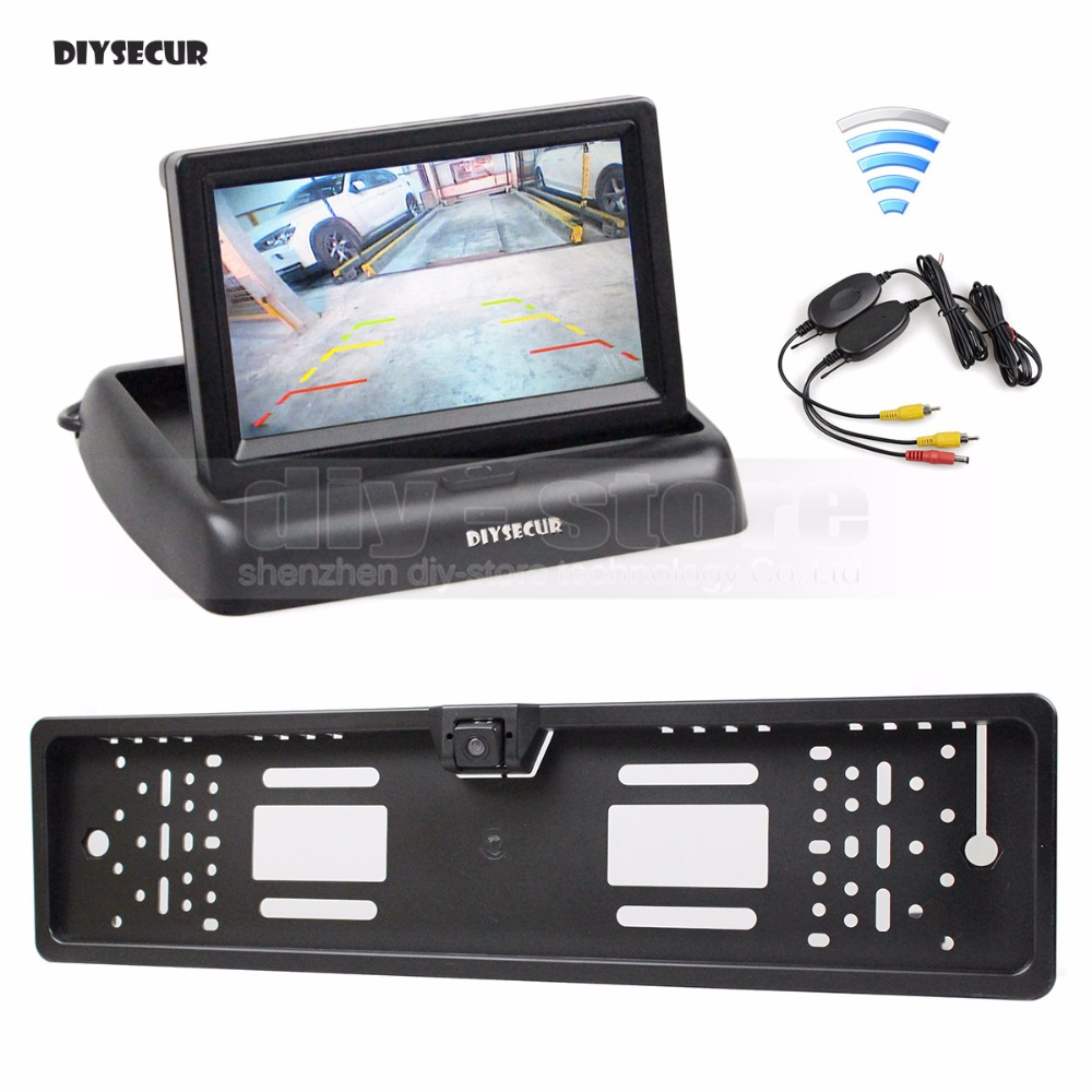 DIYSECUR Wireless Foldable 4 3inch LCD Display Car Monitor Waterproof European Car License Plate Frame Rear