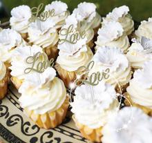 Cute Gold Glitter love Cupcake Topper 100pcs/lot