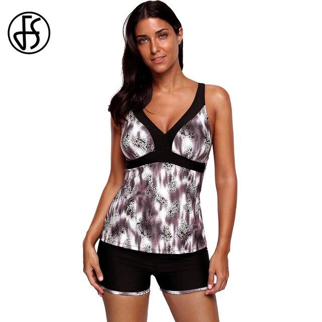 9c99dc258b FS Women High Cut Swimwear Plus Size Two Pieces Ladies Leopard Print  Crisscross Open Back Tankini With Short Swimsuit Bikini Set