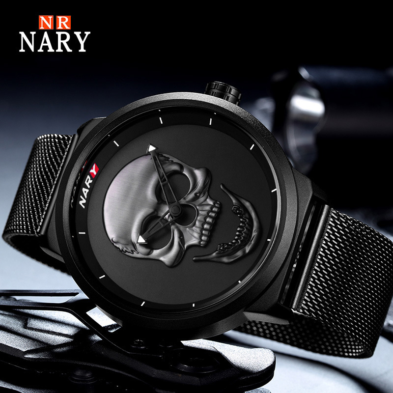 Cool 3D Skull Watches Men Top Brand Luxury Quartz Gold Black Wristwatch Fashion Creative Steel Mesh Clock Male Relogio Masculino