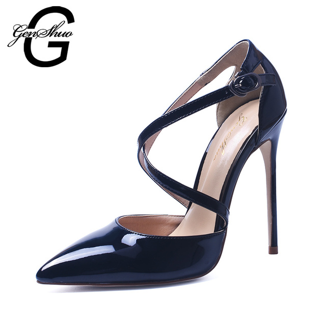 165a1ab911f GENSHUO Shoes Woman High Heel Pumps Sexy Black High Heels Pointed Toe Women  Shoes Brand Patent Leather Cross Strapy Wedding Shoe