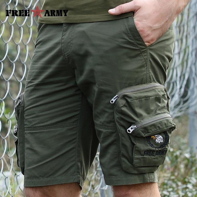 Brand Quality Military Cargo Shorts Men Army Green Zipper Big Pockets Shorts Knee-length Casual Shorts Male Men's Clothing