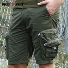 Brand Quality Military Cargo Shorts Men Army Green Zipper Big Pockets Shorts Knee-length Casual Shorts Male Men's Clothing