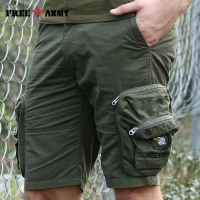 Brand Quality Military Cargo Shorts Men Army Green Zipper Big Pockets Shorts Knee length Casual Shorts Male Men's Clothing