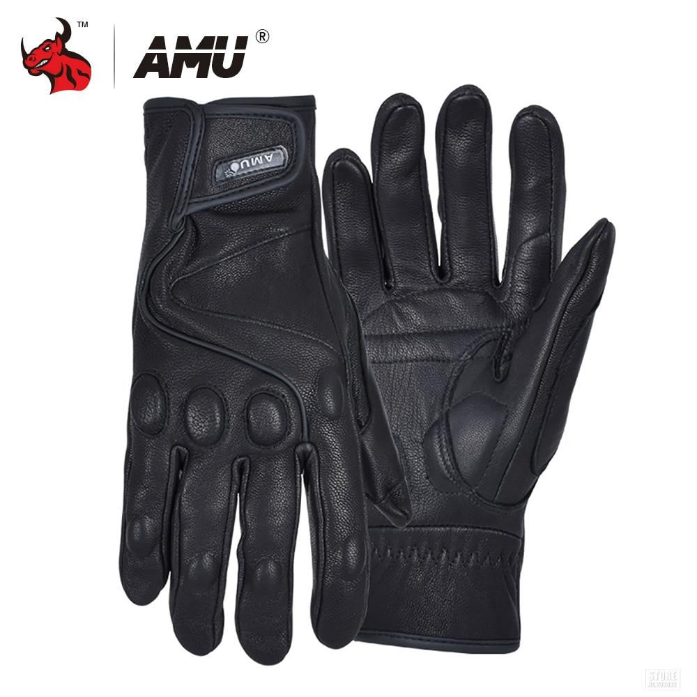 AMU Motorcycle Gloves Leather Moto Glove Protective Gears Retro Motocross Glove Men Women Electric Bike Gloves