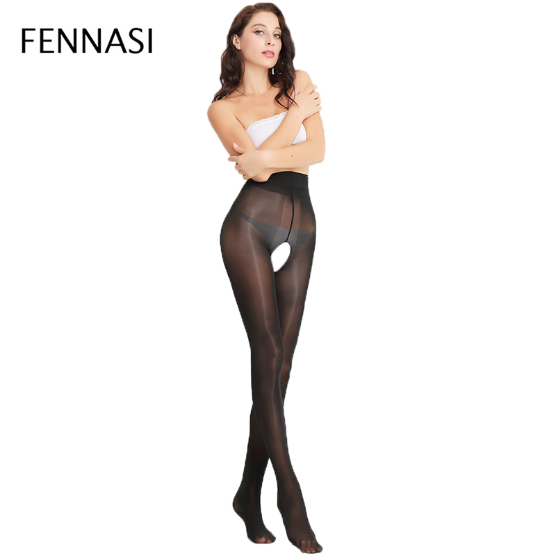 Buy FENNASI Women's Oil Shine Open Crotch Tights Women Shiny Nylons Lady Black Sexy Pantyhose High Waist Female Erotic Black Tights