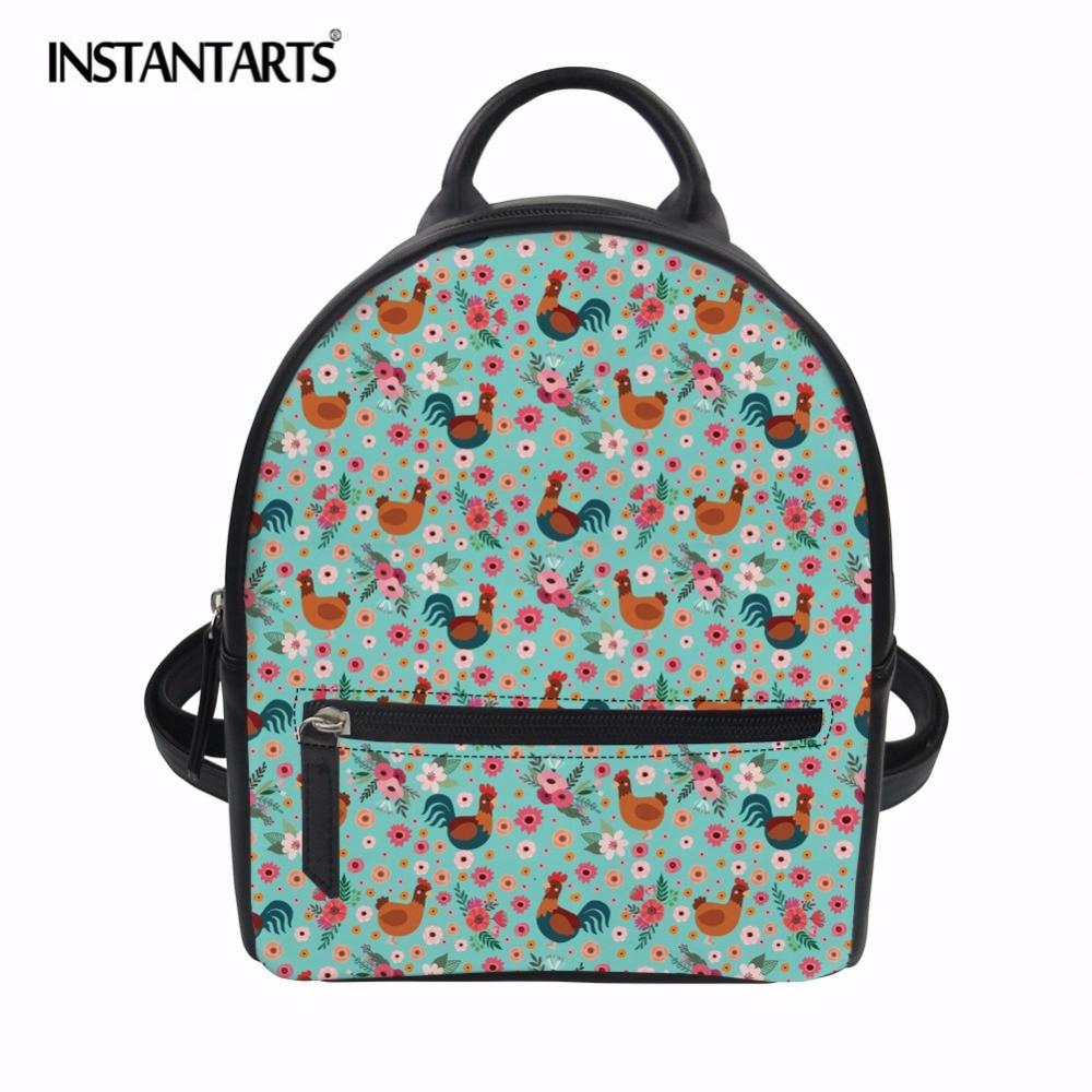 INSTANTARTS Women Leather Backpack Children Mini Backpacks Animal Chicken Printed Women Back Pack for Teenage Girls Small Bag