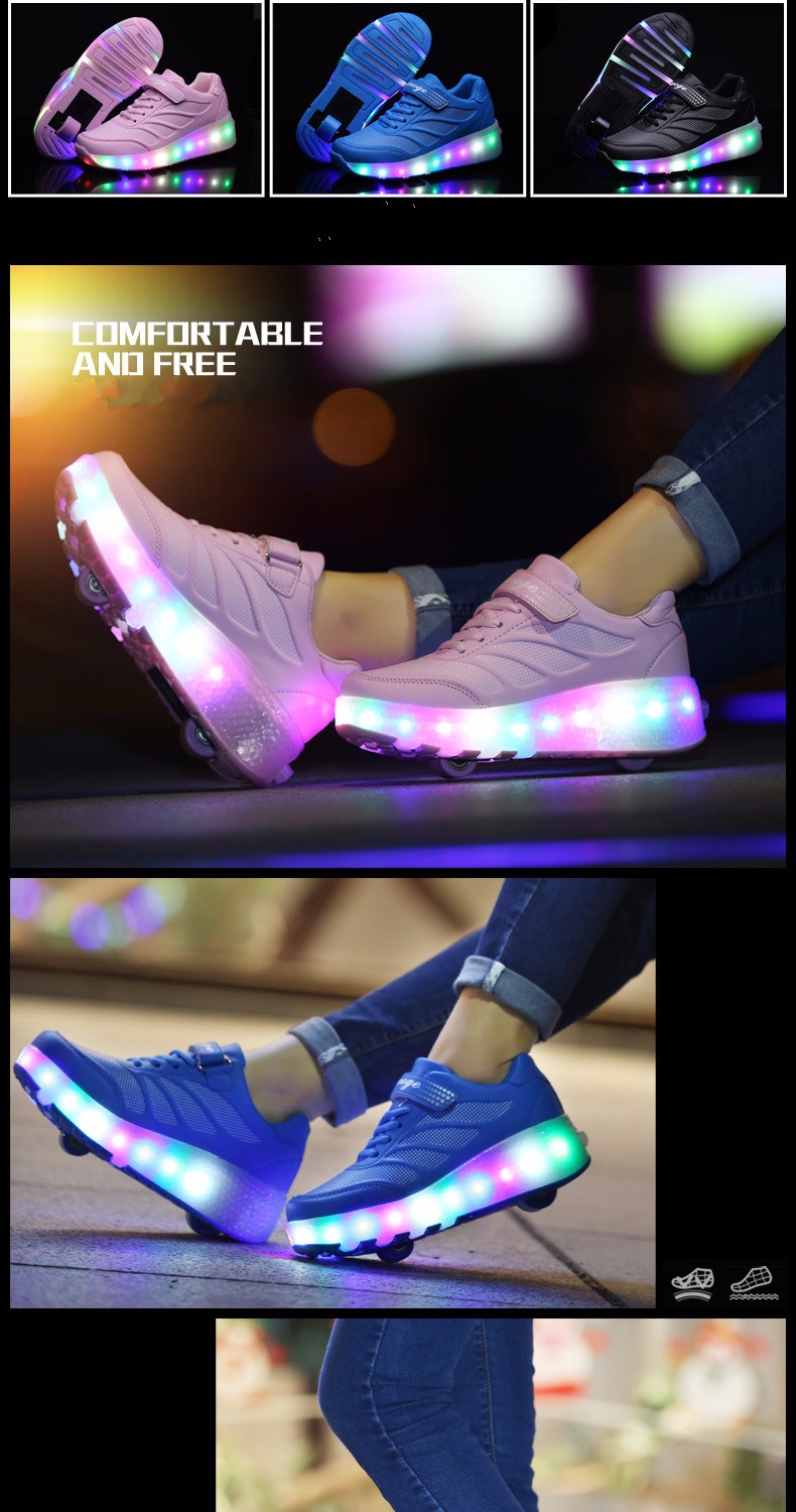 tenis de led infanti Kids Roller Shoes Boys Girls Light Up Glowing Sneakers with Wheels High Quality Popular