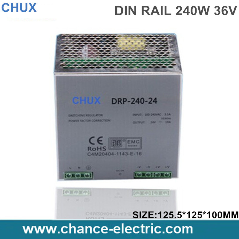 din rail mount switching power supply 240w 36v 6.6A Single Output  AC/dc input SMPS DR240-36v-6.6A  for cnc led light ac dc dr 60 5v 60w 5vdc switching power supply din rail for led light free shipping