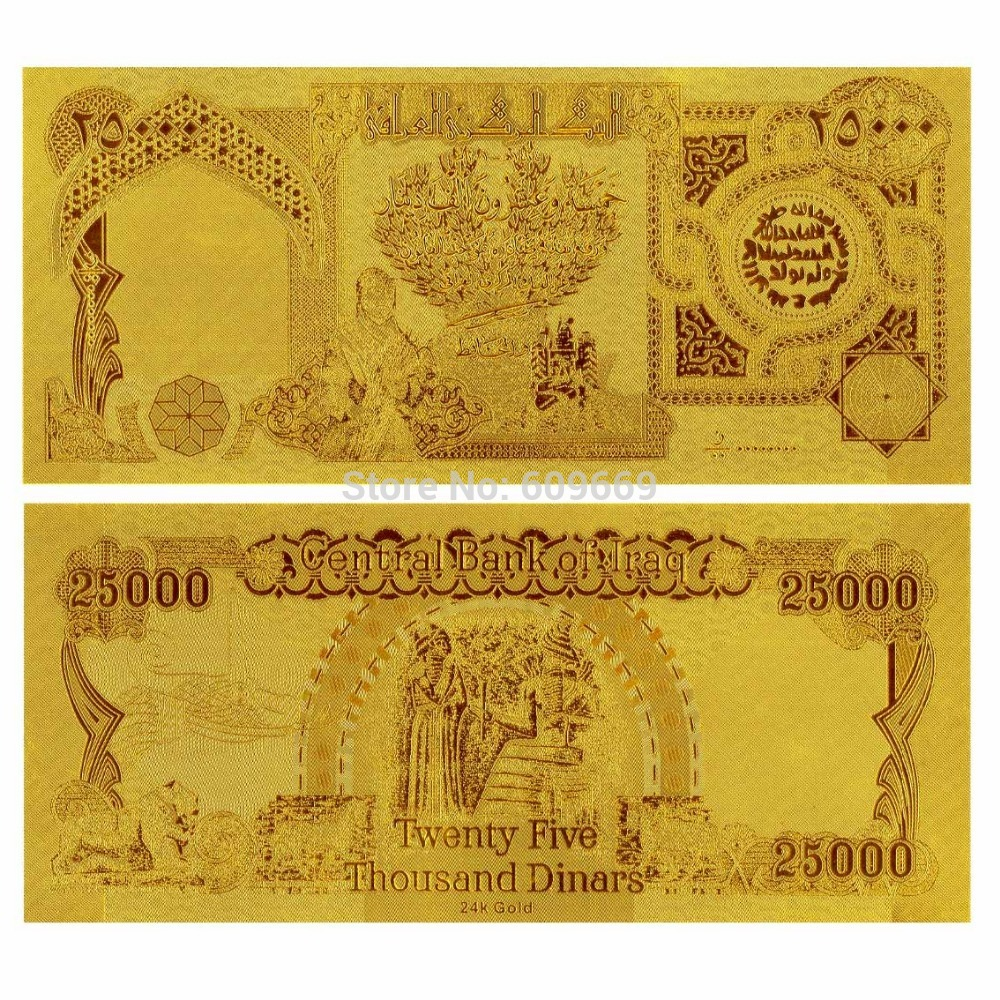 Iraq 25000 Dinar Gold Banknote 999 9 Bank Note In Banknotes From Home Garden On Aliexpress Alibaba Group