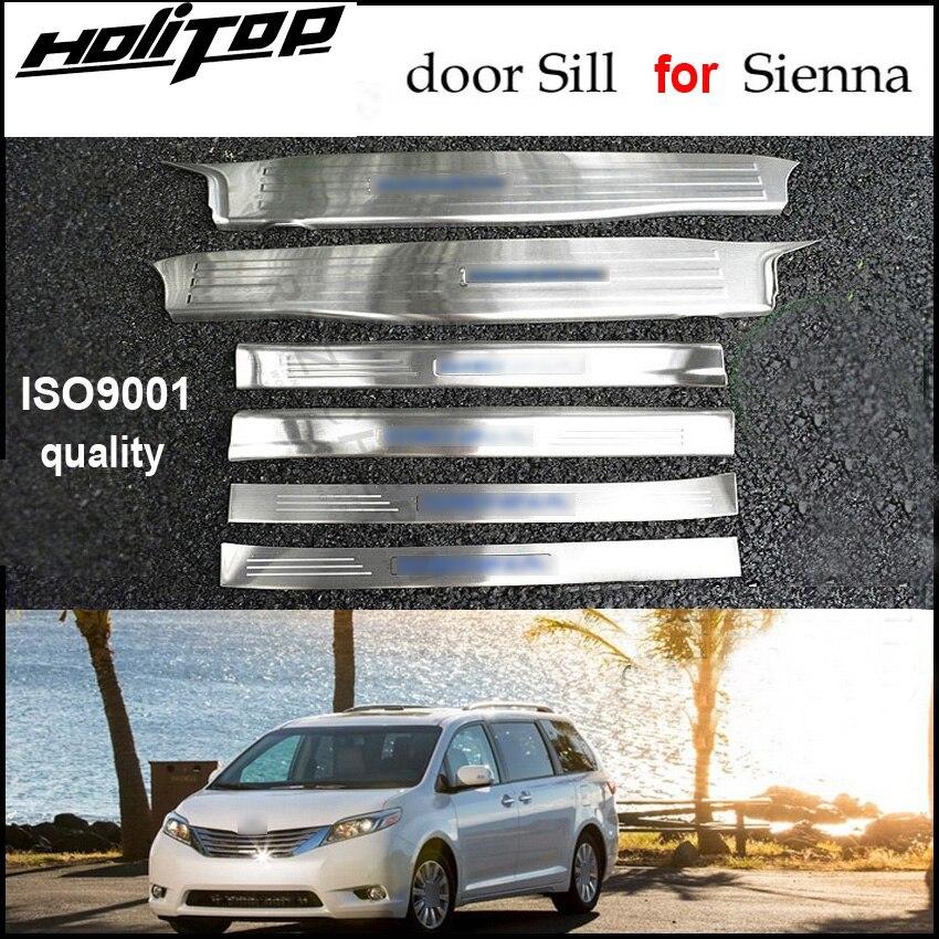 Chaude porte seuil plat d'usure/seuil pour Toyota Sienna 2010-2018, excellent 304 en acier inoxydable, 6 pcs/ensemble, livraison gratuite à L'asie.