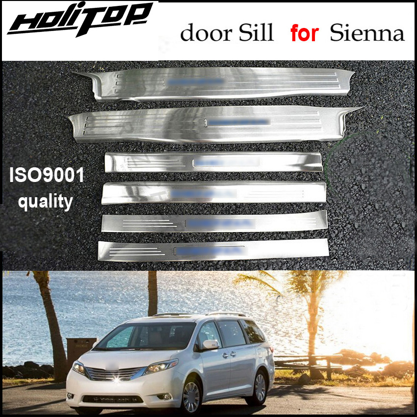 hot door sill scuff plate/threshold for Toyota Sienna 2010-2018,excellent 304 stainless steel,6pcs/set,free shipping to Asia. free shipping new for toyota tundra door sill stainless steel scuff plate threshold sticker accessories 4 pcs with lamp