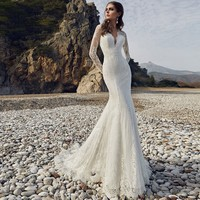 Sexy Wedding Dress Mermaid Long Sleeve Bride Dresses Backless Wedding Gown Lace Beach Bride Dress