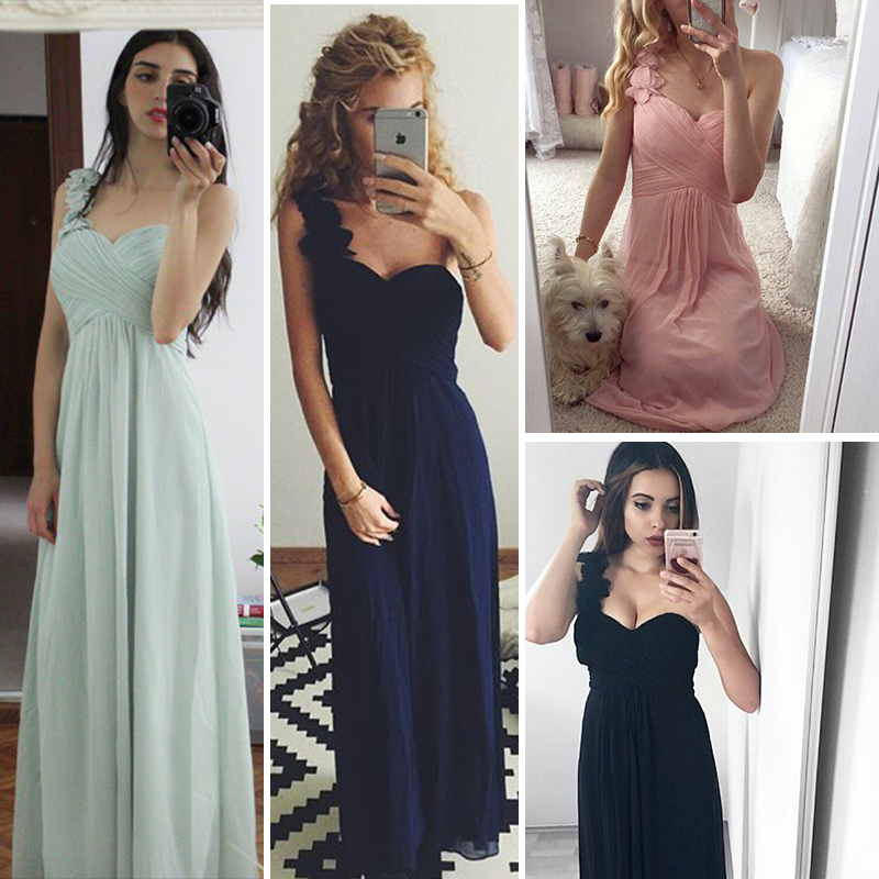 Cheap Long   Evening     Dresses   Flowers One Shoulder Chiffon Padded Masala Red Women Ever Pretty EP09768 Empire Waist Party Gowns