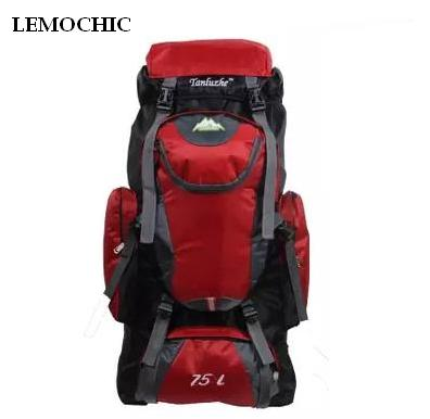 ФОТО LEMOCHIC 75L Outdoor Camping Hiking professional Climbing Bags mountaineering bag vlsivery large capacity travel sports backpack