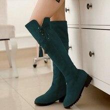 แฟชั่นใหม่ฤดูหนาวF Auxหนังนิ่มปักอัศวินb ootiesรองเท้าเข่ารองเท้าขนาดใหญ่ลดลงการจัดส่งสินค้า