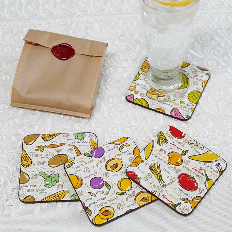 Abmidea Pastoral Fruit Wood Drink Cork Coasters Set Art