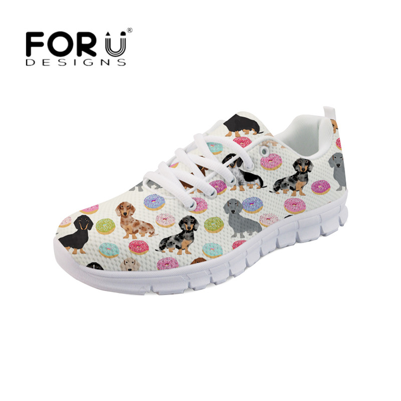 FORUDESIGNS Girls Cute Shoes Dachshund Weener Dog Donuts Pattern Flats Shoes Women Autumn Sneakers Light Lace up Walking Zapatos