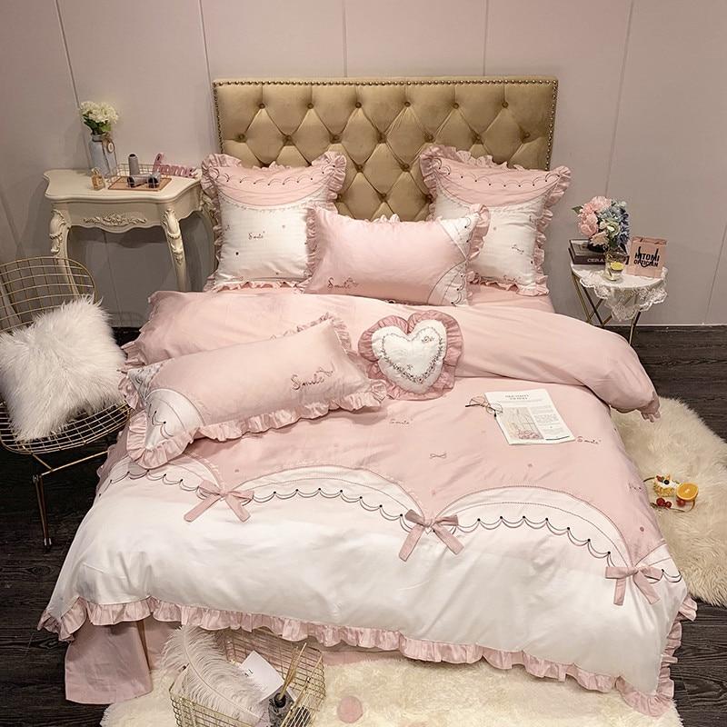 Cute Bow Bedding Set Queen Size Embroidery Bedding Sheet Egyptian Cotton Bed Linen Ropa De Cama King Bed Set Duvet Cover 4/7pcs