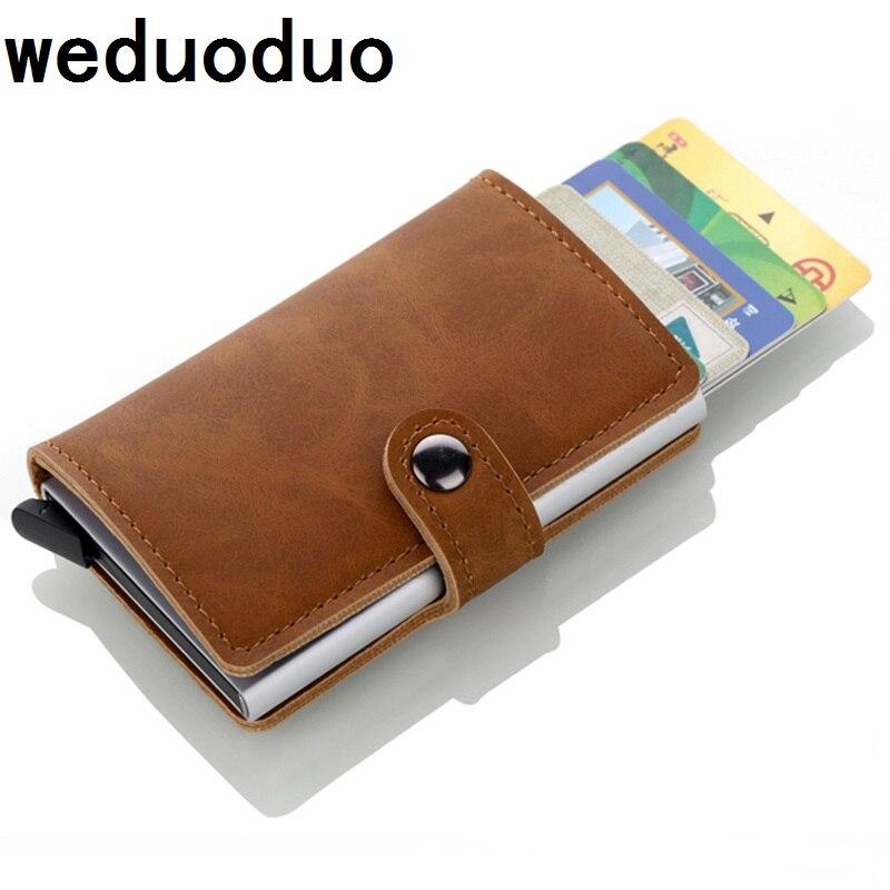 2018 marca la tarjeta de crédito titulares hombres titulares de tarjetas RFID moda casos automático aluminio carteras de tarjetas bancarias