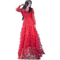 Czerwony biały Vintage Długa Sukienka 3D kwiatowe Aplikacje Wiosna Summer Beach Dress 2018 Kobiety Wysokiej Jakości Runway Sukienka