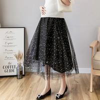 7d653d772 Maternity Skirt High Waist Pleated Skirt Fashion Shining Star Mesh Tulle  Skirt Korean Style Dress Pregnancy. Falda de maternidad cintura alta plisada  moda ...