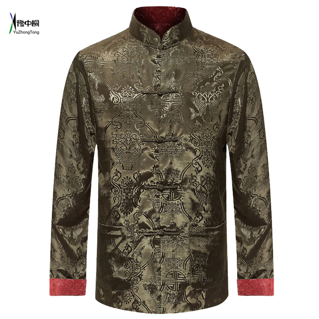 1bf47941d7e Male Double-Face Long Sleeve Shirt Traditional Chinese Clothing Tang Suit  Coat Reversible Kung Fu Jacket for Men YZT0813