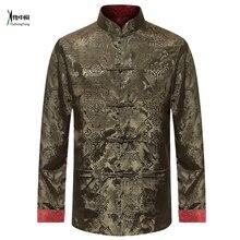 Masculino dupla face camisa de manga longa tradicional chinês roupas tang terno casaco reversível kung fu jaqueta para homem yzt0813