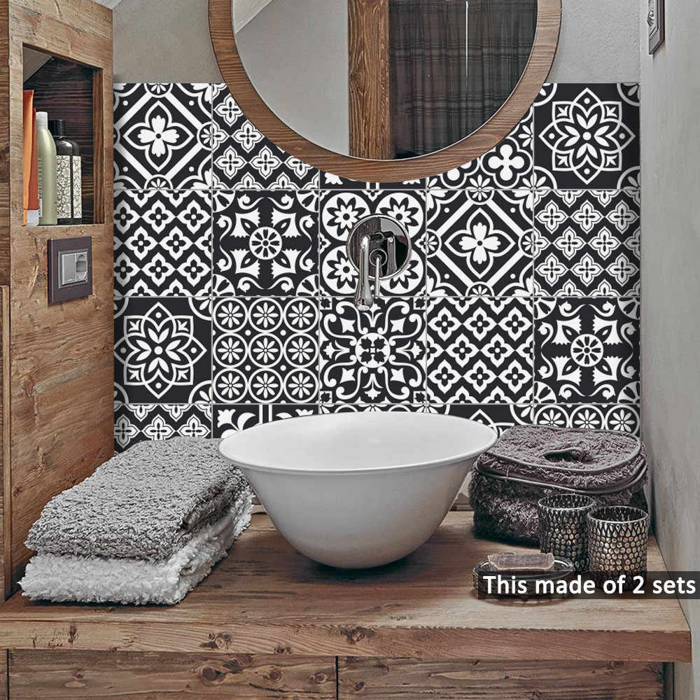 10 Pcs/pack 15cm/20cm Black White Self -Adhesive Wall Stickers Anti Oil Waterproof Tiles Kitchen Bathroom Decoration Wall Art