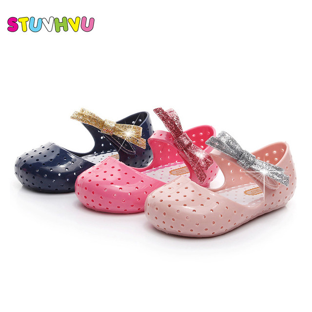 3ca1952fabad Summer sandals children shoes hollow breathable mini boys girls jelly shoes  bowknot pink princess shoes kids non-slip Sandals