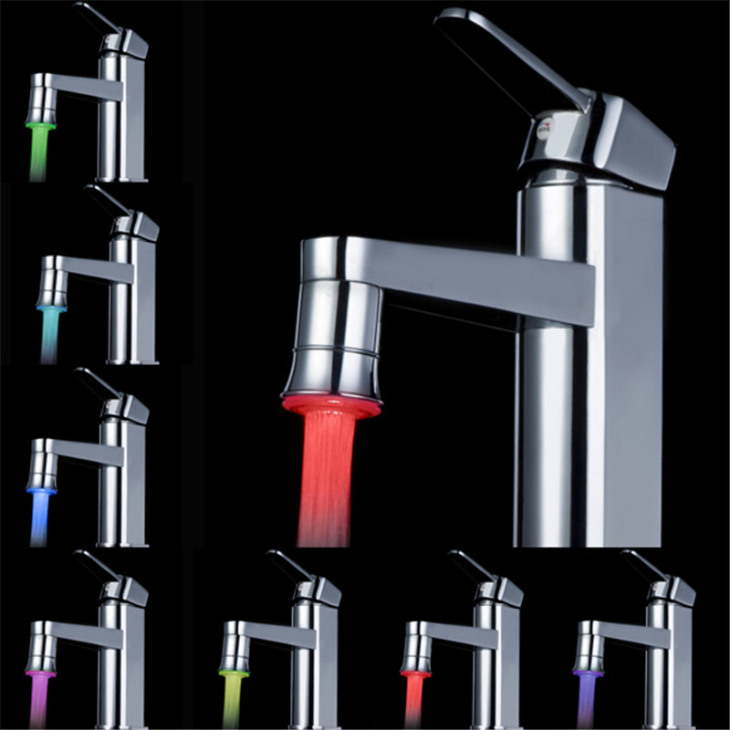 LED Water Faucet 7 Colors Changing Light Glow Show Easy To Install Stream Tap Bathroom Faucet Aerator Accessories