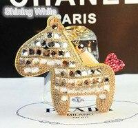 Free Shipping Crystal Rhinestone Custom Horse Keychain Leather Key Chain For The Key Women Bag