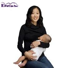Émotion Mamans Col Roulé vêtements De Maternité vêtements D'allaitement Infirmiers Tops Allaitement Tops pour Les Femmes Enceintes De Maternité Top & chemise