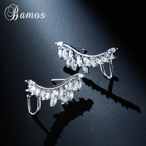 Bamos New Unique Design Silver/Yellow/Rose Gold Filled Double Wings Stud Earrings For Women Sparkling White AAA Zircon Earrings Karachi