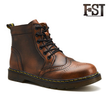 FSJ Genuine Cow Leather Man Solid Lace Up Ankle Riding Equestrian Spring/Autumn Sewing Casual  Round Toe shoes 2019 Matin Boots 2017 latest men s mid calf boots genuine leather zipper opening round toe riding equestrian chakku high boots itlian cow leather