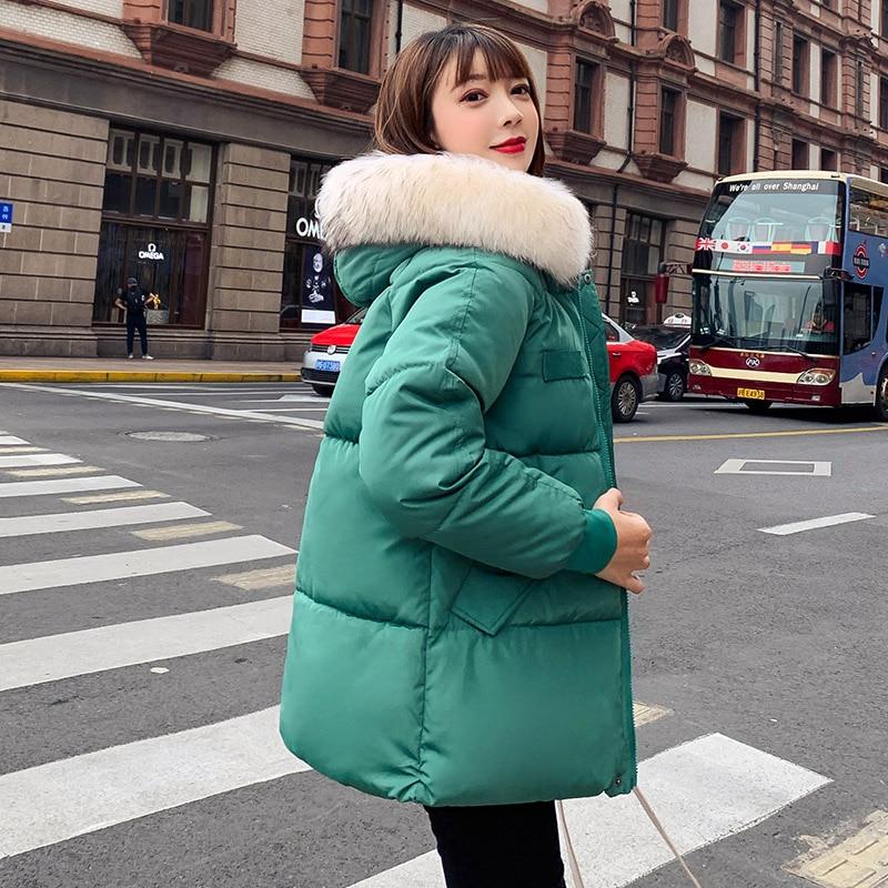 Winter women jackets coat 2019 Casual thicken warm big fur hooded   parkas   coat Solid winter sintepon jacket female outwear coat