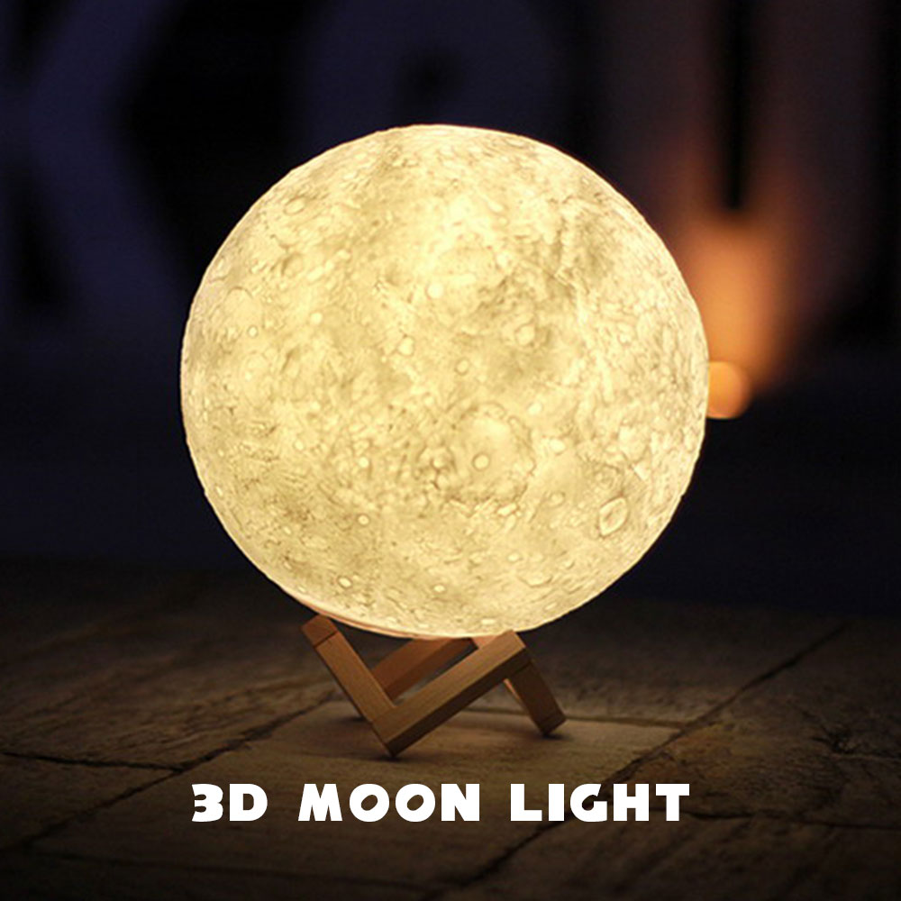 3D Print Moon Lamp Night Light Touch Control 10 Levels Dimmable White/Warm White