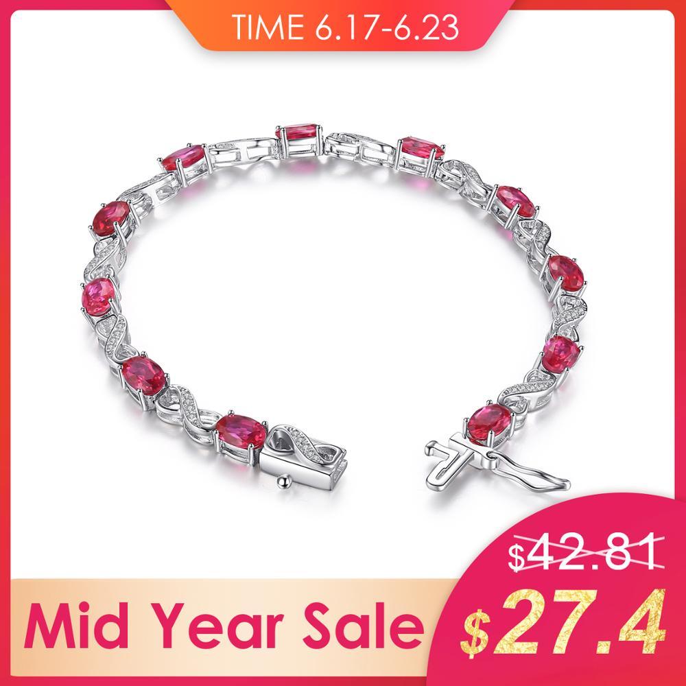 Bijoux palace amour Infinity 6.8ct ovale créé rubis Tennis Bracelet 925 en argent Sterling mode bijoux de mariage pour les femmes cadeau