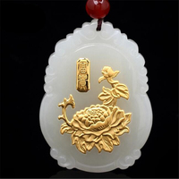 TJP Good Quality Wholesale Discount Jade Pendants For Men Women Lotus flower Shipping Necklaces
