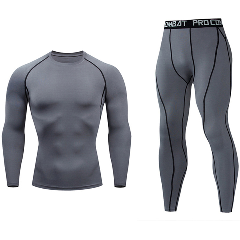 winter New Thermal underwear set Men's fleece long johns Black Gray White Track Suit Compressed Workout Quick drying Clothes(China)