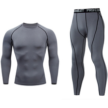 winter New Thermal underwear set Men's fleece long johns Black Gray White Track Suit Compressed Workout Quick drying Clothes