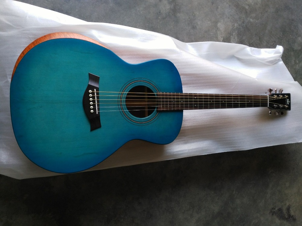 free shipping 8sounds music Byron blue satin electric guitar hand made solid OOO15 academy 12e armrest acoustic guitar