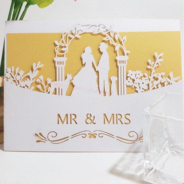 Uitzonderlijk Laser Cut Bruid en Bruidegom Huwelijk Trouwkaarten Kaarten 3D &HF06