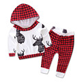 Letters 2Pcs Baby Set Boys Girls Clothes Plaid Hooded Coat and Trousers Fashionable Baby Outfits Pant Christmas Infant Clothing