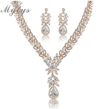 Mytys Clear Transparent Crystal Rose Gold High Quality Jewellery Sets Women Fashion Accessories Earrings and Necklace Sets N378