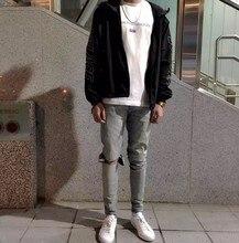Мода Мужская тонкий Брюки тощий distrressed джинсы Случайные Мужские Брюки Карандаш отбеленные омывается Джинсы плюс размер Брюки swag