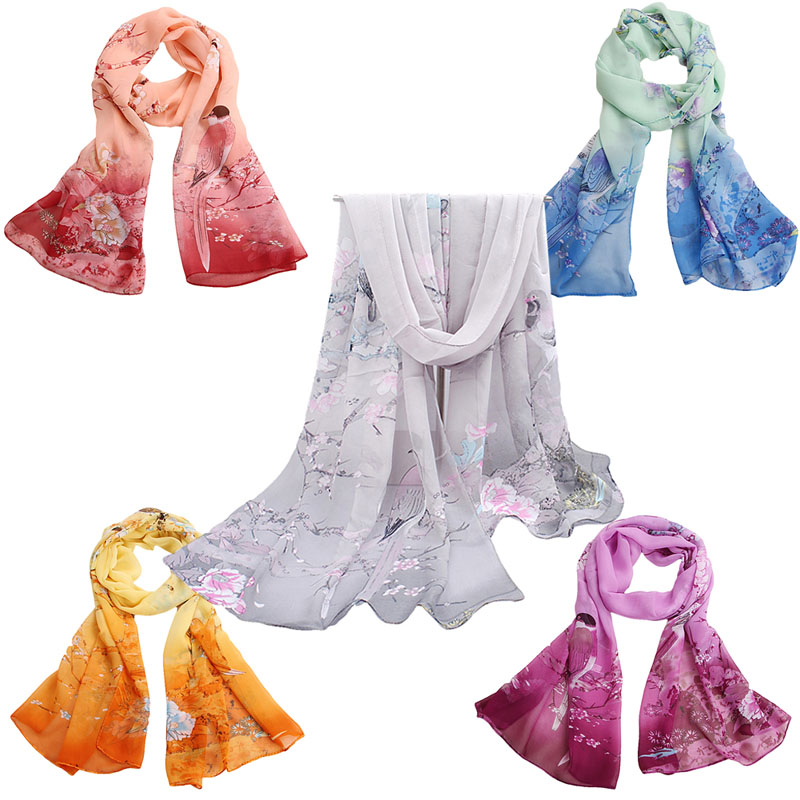 Women Fashion Pretty Print Long Soft Chiffon   Scarf     Wrap   Shawl Stole   Scarves   Hot #