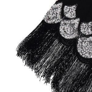 Image 5 - Vestido pequeño negro elástico Midi para mujer, Vestido Vintage con cuentas y flecos, Vestido de aleta de lentejuelas, Túnica Gatsby 1920s