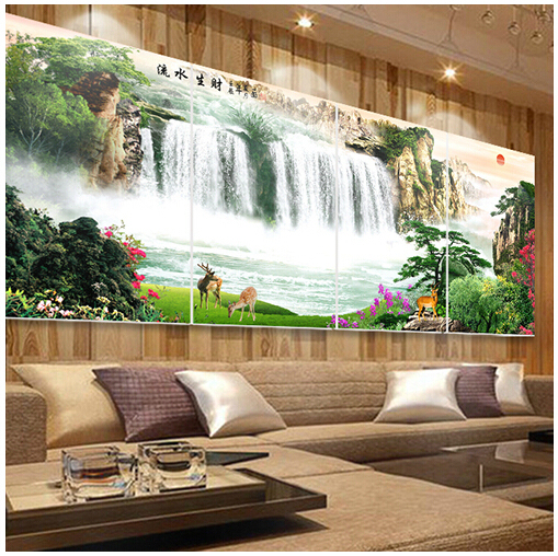 painting for living room feng shui how to decorate my on a budget frameless decorative landscapes painted waterfall flowing cornucopia of making money