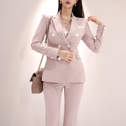 Roze vrouwen high-end nieuwe OL professionele temperament gestreepte double-breasted kleine pak was dunne rechte broek drie- stuk